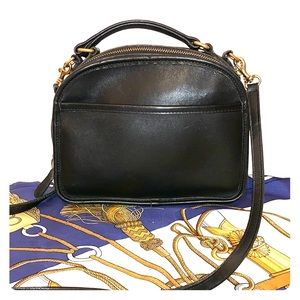 Vintage Coach Black Leather Lunch Box Bag #9991